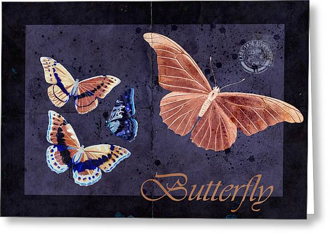 Butterlfy Greeting Cards - Blue Butterfly Etc - s044a Greeting Card by Variance Collections
