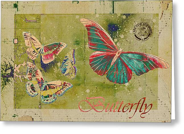 Butterlfy Greeting Cards - Blue Butterfly Etc - s55ct01 Greeting Card by Variance Collections