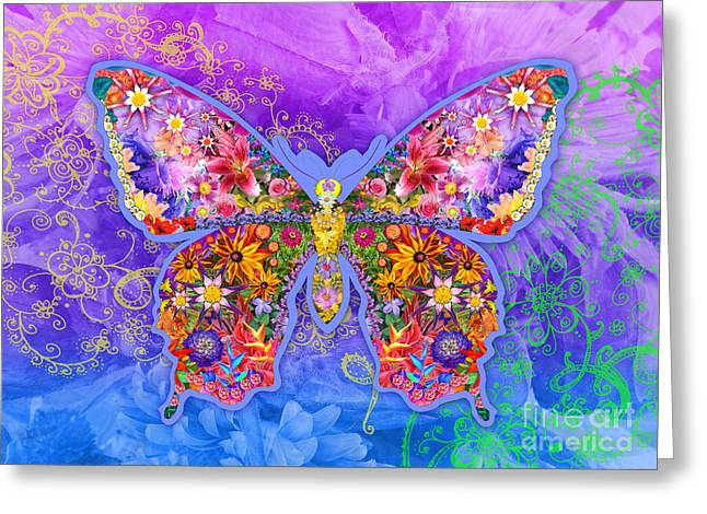 Blue Butterfly Floral Greeting Card by Alixandra Mullins
