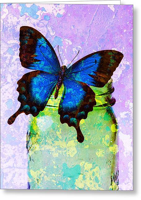 Jars Greeting Cards - Blue Butterfly Green Jar Abstract Greeting Card by Garry Gay