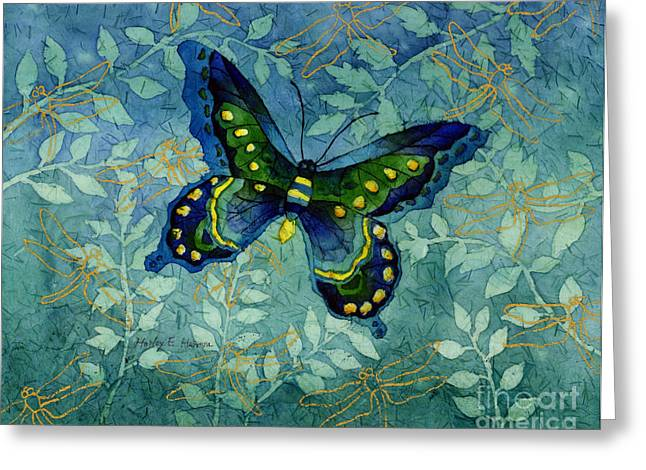 Emerald Green Greeting Cards - Blue Butterfly Greeting Card by Hailey E Herrera