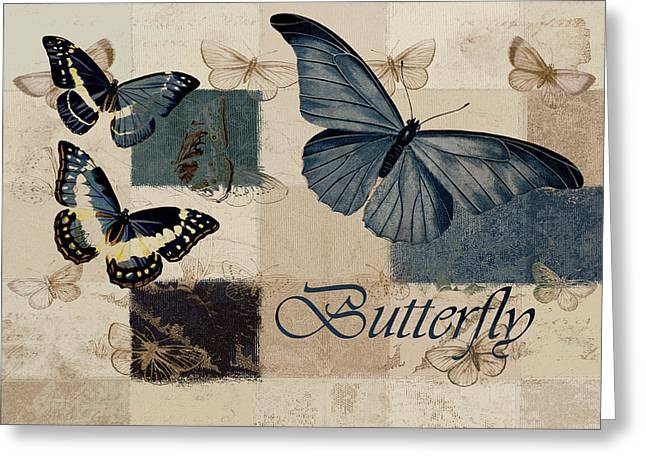 Blue Butterflies Greeting Cards - Blue Butterfly - j118118115-01a Greeting Card by Variance Collections
