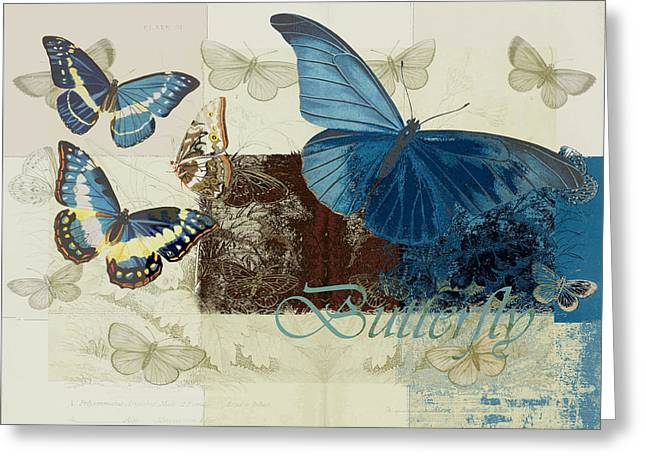 Blue Butterfly Greeting Cards - Blue Butterfly - j152164152-01 Greeting Card by Variance Collections