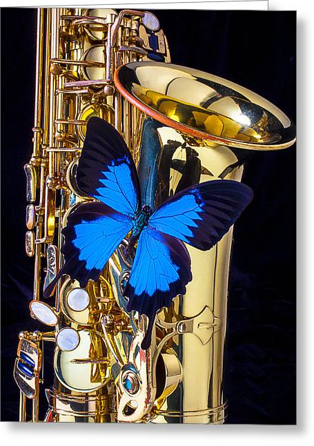 Saxophone Photographs Greeting Cards - Blue butterfly on sax Greeting Card by Garry Gay