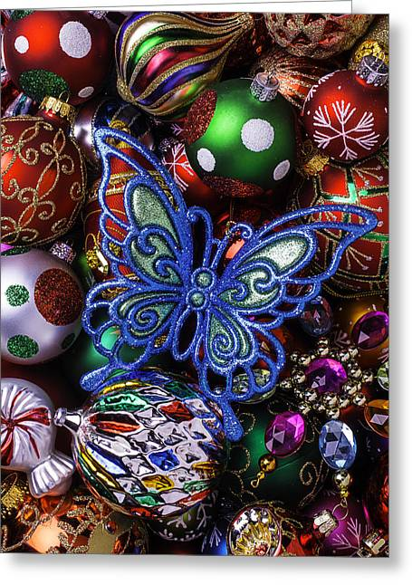 Spheres Greeting Cards - Blue Butterfly Ornament Greeting Card by Garry Gay