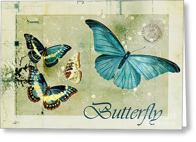 Insects Greeting Cards - Blue Butterfly - s55c01 Greeting Card by Variance Collections