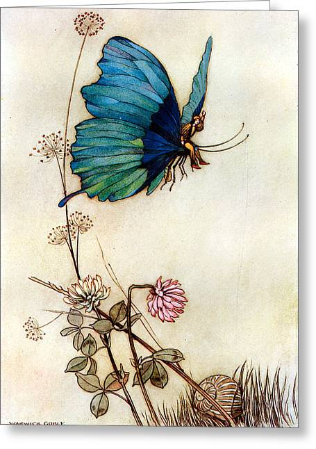 Warwick Digital Greeting Cards - Blue Butterfly Greeting Card by Warwick Goble