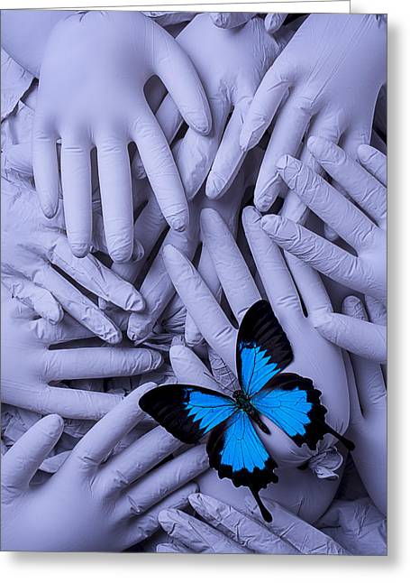 Same Greeting Cards - Blue Butterfly With Gary Hands Greeting Card by Garry Gay