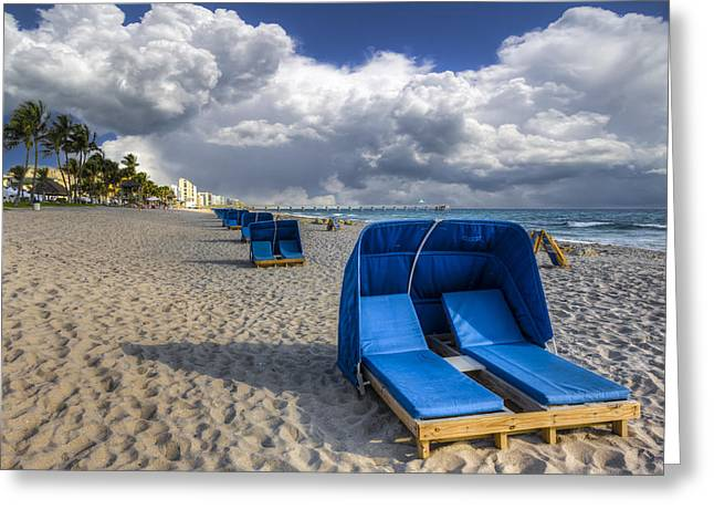 Lounge Photographs Greeting Cards - Blue Cabana Greeting Card by Debra and Dave Vanderlaan