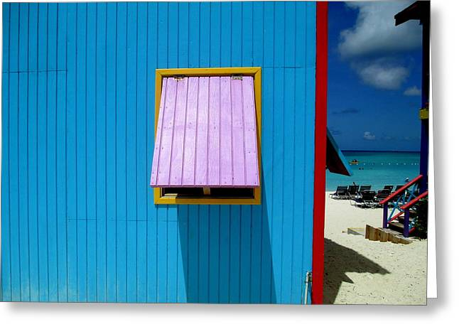 Caribbean Corner Greeting Cards - Blue Cabin Greeting Card by Randall Weidner