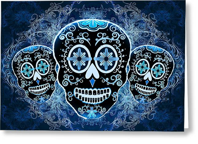 Calaveras Greeting Cards - Three Amigos Greeting Card by Tammy Wetzel