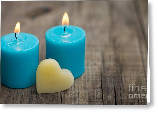Invitation Greeting Cards - Blue Candles Greeting Card by Aged Pixel
