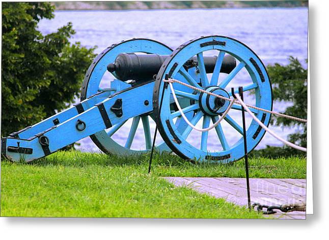 Black History Pyrography Greeting Cards - Blue Cannon at Fort McHenry Greeting Card by Cynthia Snyder
