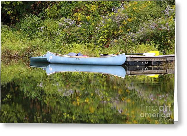 Blue Canoe Greeting Card by Deborah Benoit