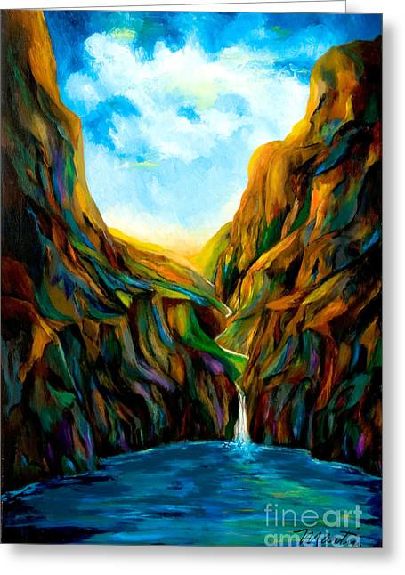 Lanscape Paintings Greeting Cards - Blue Canyon Waterfall Greeting Card by Larry Martin