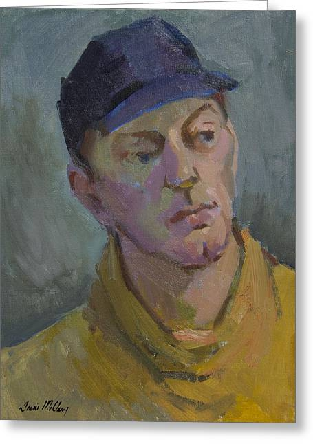 Baseball Paintings Greeting Cards - Blue Cap Greeting Card by Diane McClary