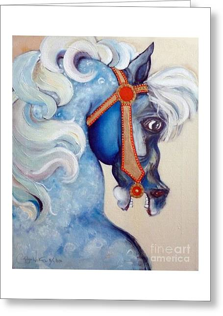 Plunging Greeting Cards - Blue Carousel Greeting Card by Carolyn Weltman