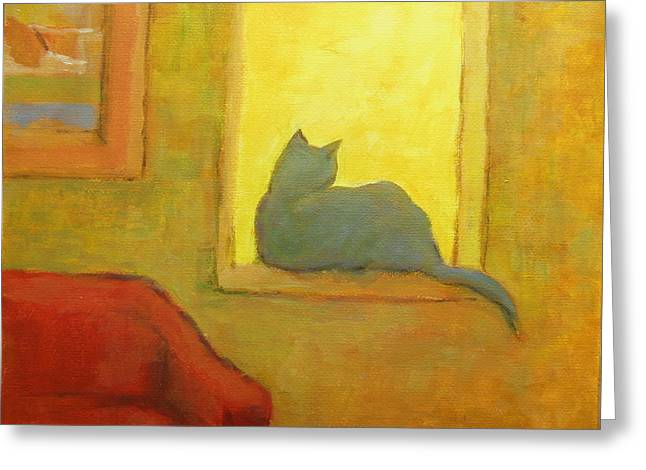 Black Cat Landscape Greeting Cards - Blue cat at the window Greeting Card by Alfons Niex