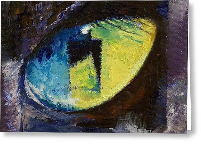 Cat Reflection Greeting Cards - Blue Cat Eye Greeting Card by Michael Creese