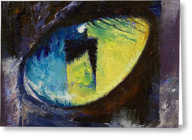 Blue Cat Eye Greeting Card by Michael Creese