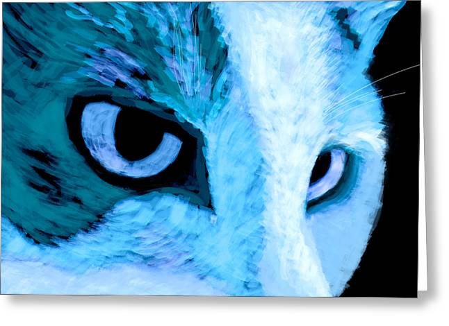 Blue Cat Face Greeting Card by Ann Powell