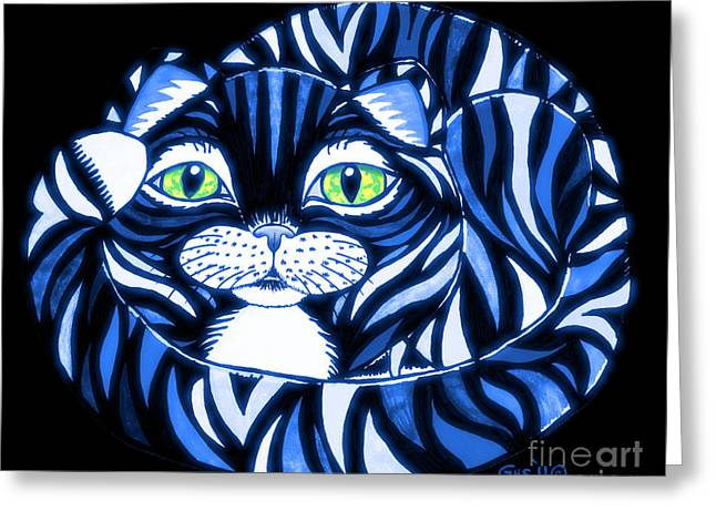 Cat Eyes Drawings Greeting Cards - Blue Cat Green Eyes Greeting Card by Nick Gustafson