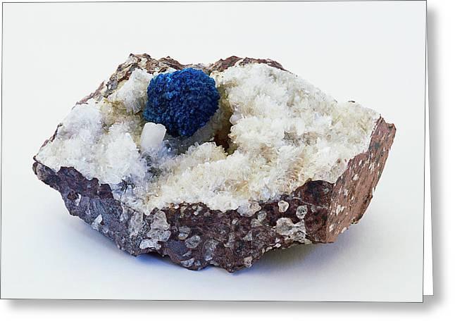 Blue Cavansite Rosette In Rock Groundmass Greeting Card by Dorling Kindersley/uig