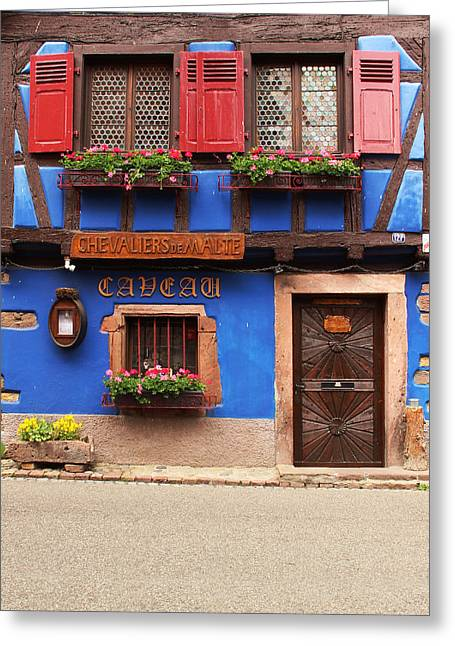 Wine Scene Greeting Cards - Blue Caveau in Niedermorschwihr France Greeting Card by Greg Matchick