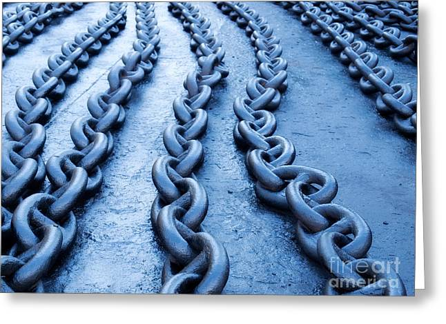 Chain-ring Greeting Cards - Blue chain Greeting Card by Sinisa Botas