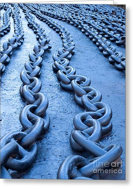 Chain-ring Greeting Cards - Blue chains Greeting Card by Sinisa Botas