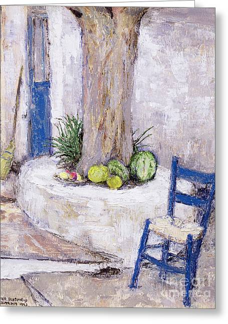 Watermelon Greeting Cards - Blue Chair by the Tree Greeting Card by Diana Schofield