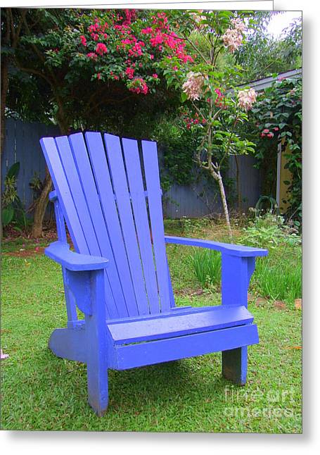 Lawn Chair Greeting Cards - Blue Chair Greeting Card by Mary Deal