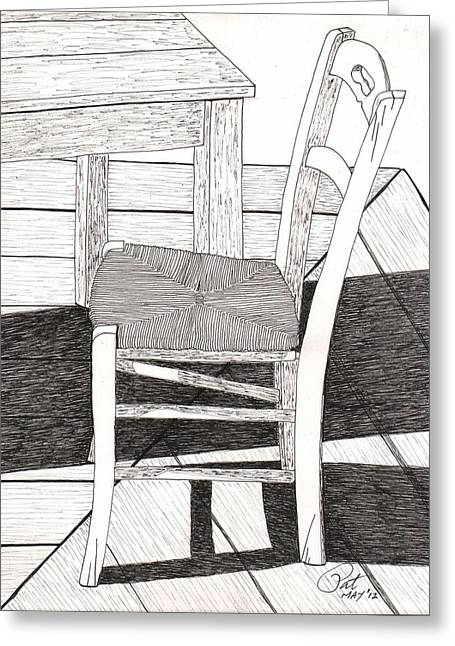 Table And Chairs Drawings Greeting Cards - Blue Chair Greeting Card by Pat Price