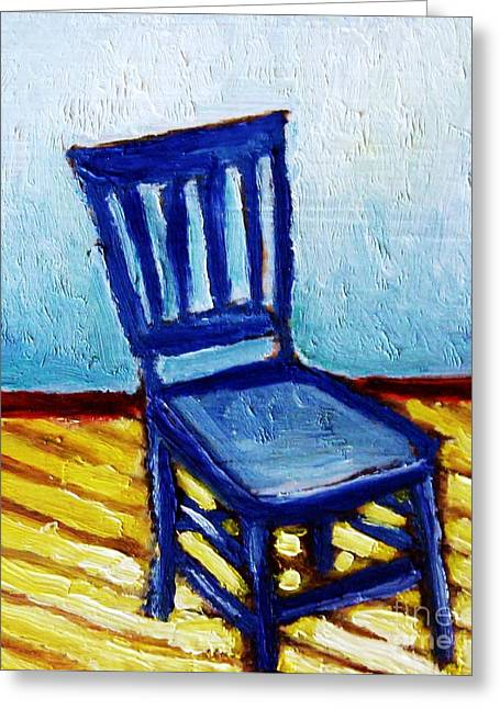 Vintage Painter Mixed Media Greeting Cards - Blue Chair Greeting Card by Venus