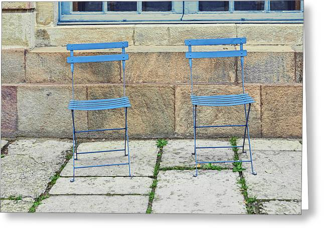 Empty Chairs Greeting Cards - Blue chairs 1 Stockholm Sweden Greeting Card by Marianne Campolongo