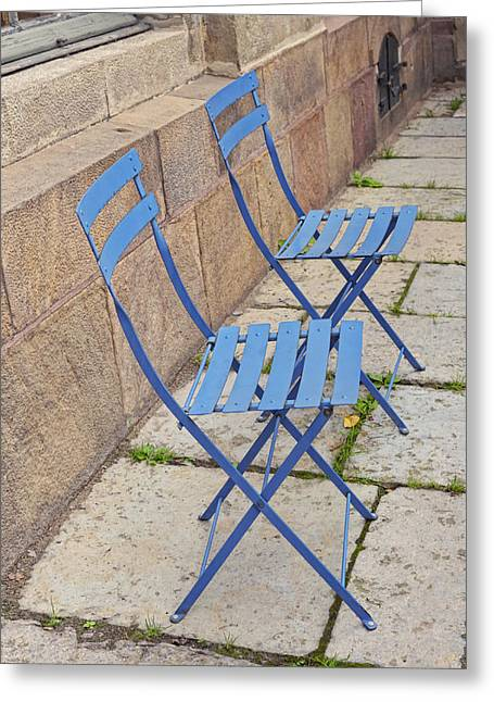 Blue Chairs 2 Stockholm Sweden Greeting Card by Marianne Campolongo