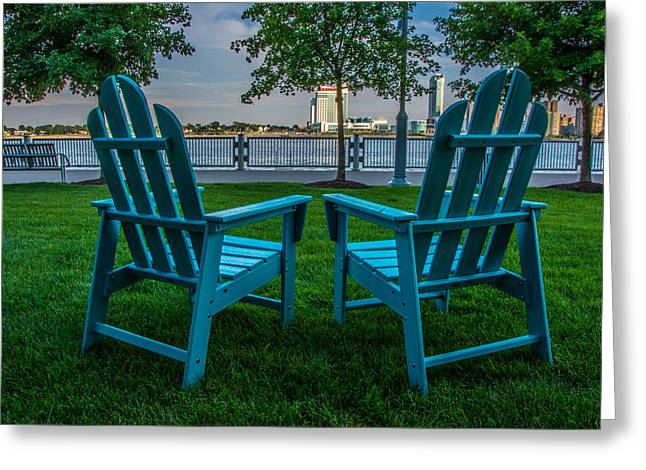 Windsor Chair Greeting Cards - Blue Chairs Greeting Card by Pravin  Sitaraman