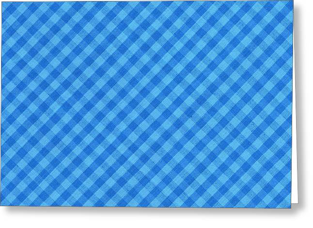 Gingham Greeting Cards - Blue Checkered diagonal Tablecloth Cloth Background Greeting Card by Keith Webber Jr