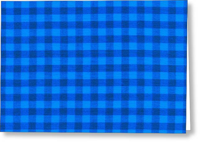 Checked Tablecloths Photographs Greeting Cards - Blue Checkered Tablecloth Fabric Background Greeting Card by Keith Webber Jr