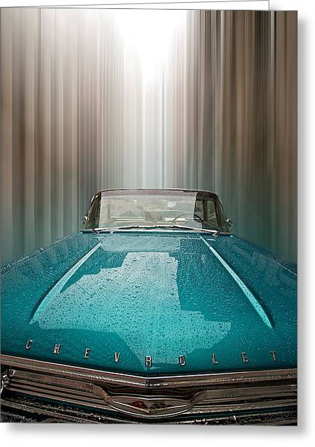 Wide Front End Greeting Cards - Blue Chevy Greeting Card by Andre Faubert