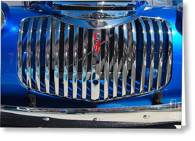 Stainless Steel Greeting Cards - blue Chevy Grill Greeting Card by Mark Spearman