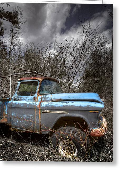 Rusted Cars Greeting Cards - Blue Chevy Truck Greeting Card by Debra and Dave Vanderlaan