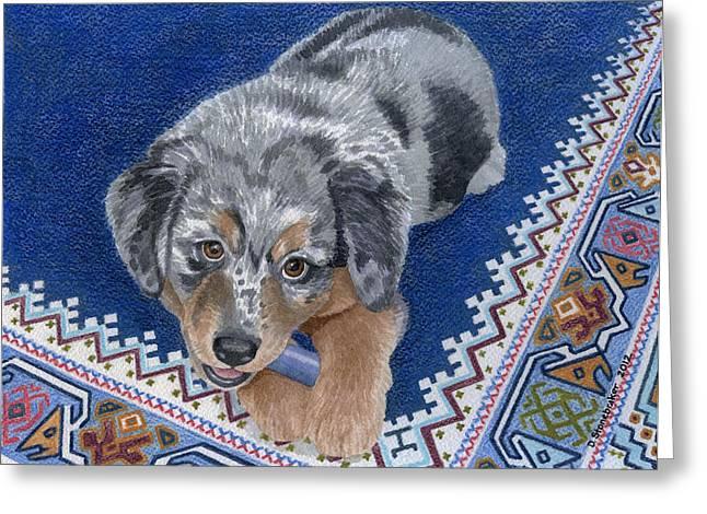 Oriental Rug Greeting Cards - Blue Chew Greeting Card by Debbie Stonebraker