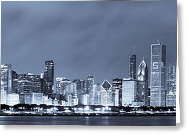 Lights Greeting Cards - Blue Chicago Skyline Greeting Card by Sebastian Musial