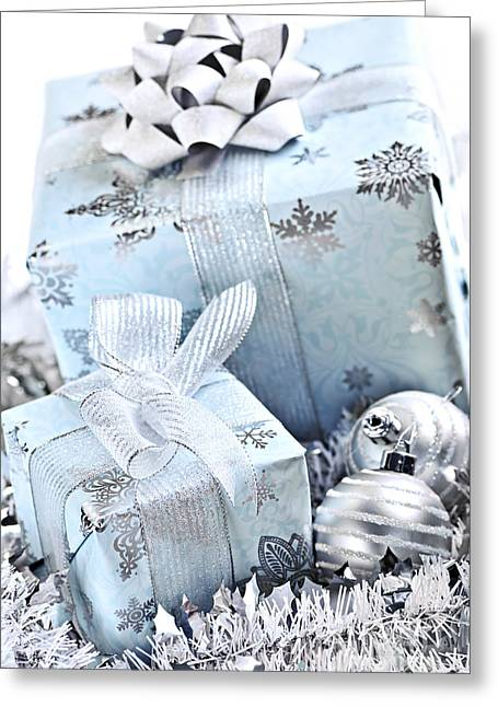 Gifts Photographs Greeting Cards - Blue Christmas gift boxes Greeting Card by Elena Elisseeva