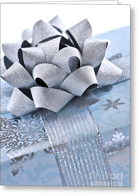 Wrapping Greeting Cards - Blue Christmas gift Greeting Card by Elena Elisseeva