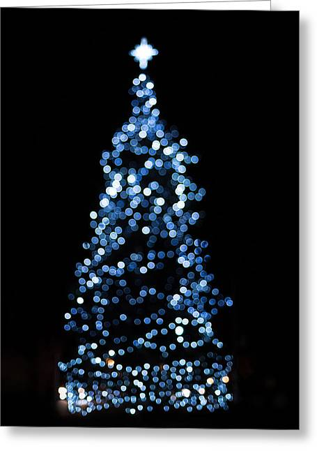 Twinkle Greeting Cards - Blue Christmas Lights Greeting Card by Terry DeLuco