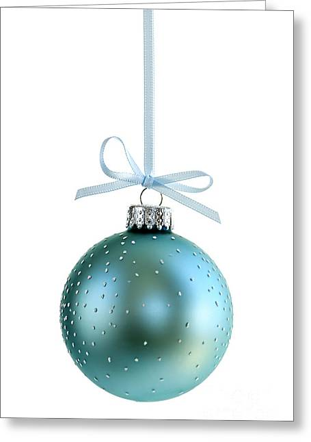 Baubles Greeting Cards - Blue Christmas ornament Greeting Card by Elena Elisseeva