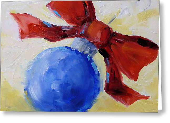 Christmas Art Greeting Cards - Blue Christmas Ornament Greeting Card by Suzy Pal Powell