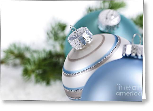 Baubles Greeting Cards - Blue Christmas ornaments Greeting Card by Elena Elisseeva